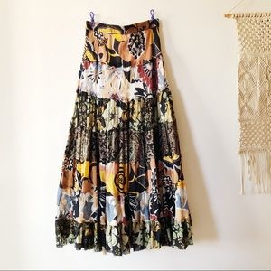 VINTAGE PATCHED FLORAL PRINTED MAXI SKIRT S